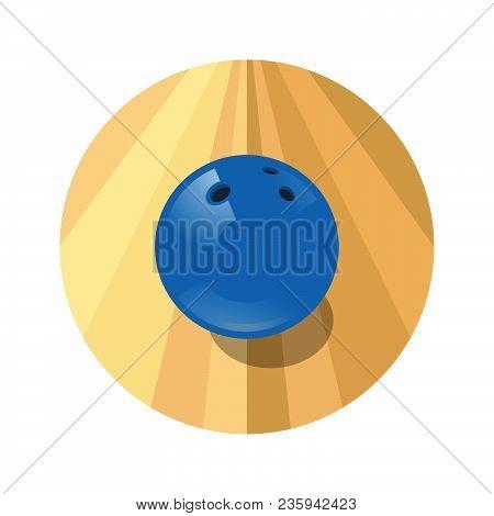 Bowling Ball Icon. Bowling Blue Ball In The Circle. Bowling Emblem.