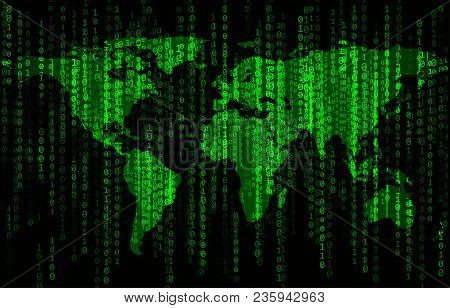 Green Binary Code Background With World Map