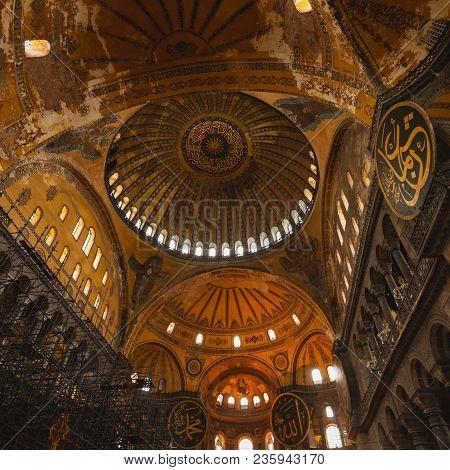 Istanbul, Turkey - April 07, 2013: Hagia Sophia Interior At Istanbul Turkey - Architecture Backgroun