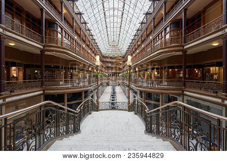 Cleveland, Ohio/usa - March 5th 2018: Given National Historic Landmark Status In 1975, The Arcade In