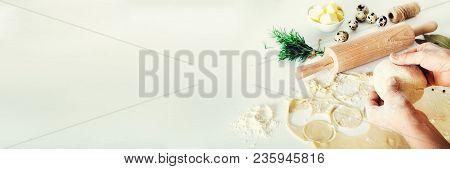 Ingredients For Making Pelmeni, Ravioli, Dumplings - Dough, Rosemary, Rolling Pin, Canvas Thread, Bu