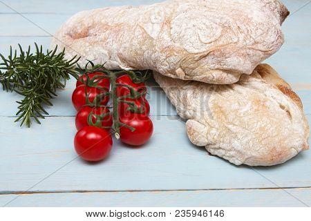 Ciabatta Bread A Traditional Italian Ciabatta Bread On A Wooden Board