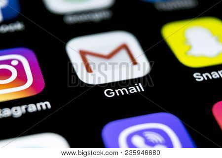 Sankt-petersburg, Russia, April 12, 2018: Google Gmail Application Icon On Apple Iphone X Smartphone