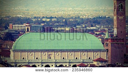 Vicenza City In Italy:   The Roof Of The Monument Called Basilica Palladiana. The Material Used Is O
