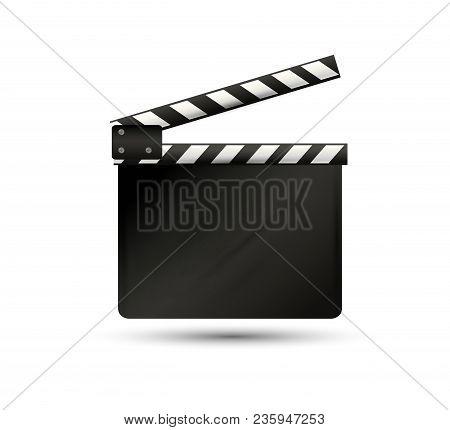 Realistic Clapper.cinema.board On A White Background.film.timevector Illustration