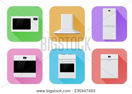 Home Appliances. Set Of Colored Icons. Vector Illustration Isolated On White Background
