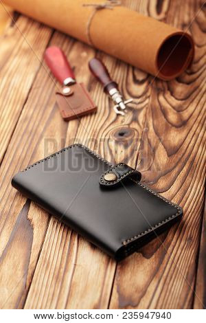 Black Leather Wallet.genuine Leather Craft Object With Tool Using For Wallet.diy Tools.hand Crafted