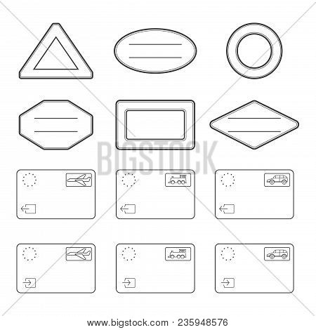 Passport Blank Stamps. Entry And Exit Stamps By Car, Train Or Plane. Vector Illustration Isolated On