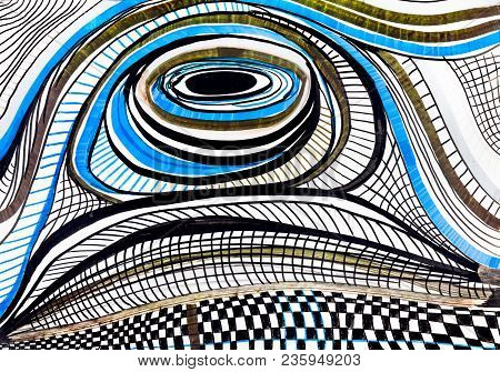 Abstract Circular And Striped Pattern By Felt-tip Pens On White Paper