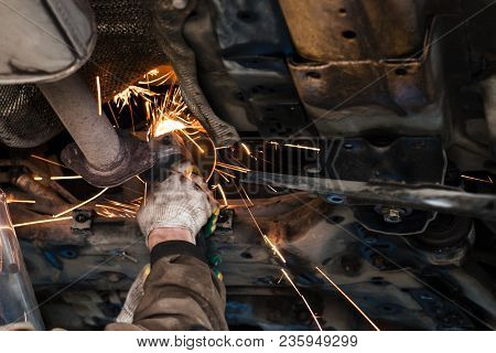 Repairing Of Corrugation Muffler Of Exhaust System In Car Workshop - Mechanic Cleans The Silencer Pi