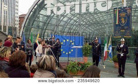 Opening Of Ponte Unione Europea (meaning European Union Bridge) In Turin