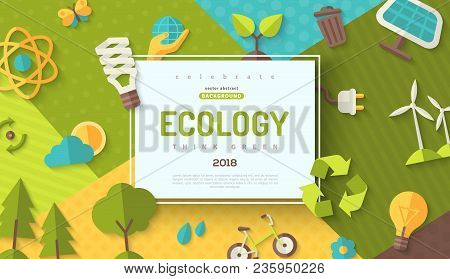Environmental Protection, Ecology Concept Horizontal Banner In Flat Style With Square Frame On Color