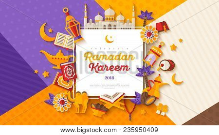 Ramadan Kareem Concept Horizontal Banner With Flat Sticker Icons On Modern Geometric Background. Vec
