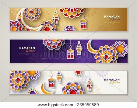 Ramadan Kareem Horizontal Banners With 3d Arabesque Stars And Flowers. Vector Illustration For Greet
