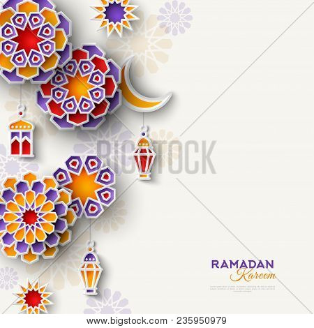 Ramadan Kareem Concept Banner With Islamic Geometric Patterns. Vertical Border With Paper Cut Flower
