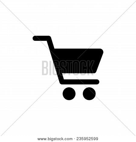Shopping Cart Icon In Flat Style. Shopping Symbol Isolated On White Background Simple Icon In Black