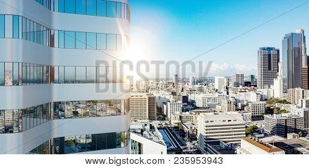 Skyscraper office building in Los Angeles city in summer (3D Rendering)