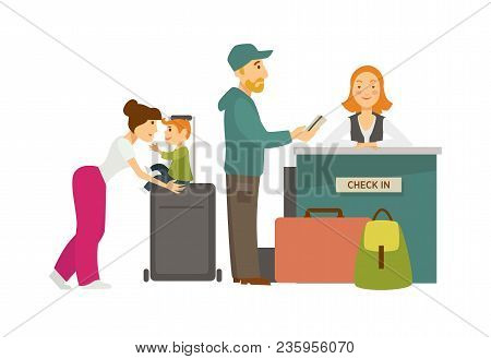 Family With Lot Of Baggage At Check In Counter With Receptionist In Uniform. Parents And Little Son