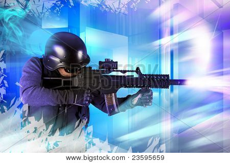 Paintball fighter. Soft air, paintball