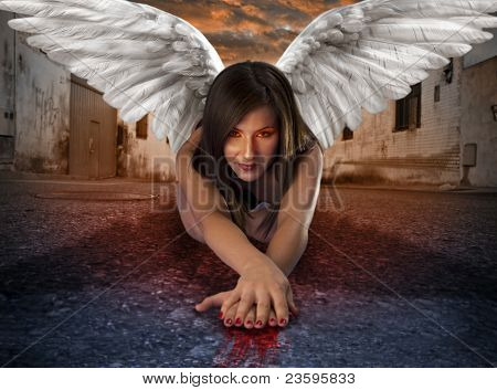 apocalyptic female angel lying in the deserted street with bloody hands under criptic orange sky