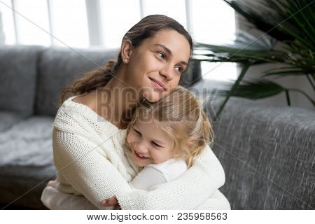 Loving Single Mother Hugging Cute Little Daughter Showing Love Care Support, Happy Woman Embracing P