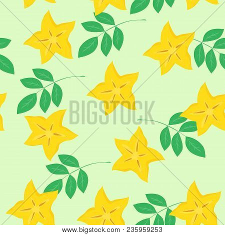 Vector Seamless Tropical Pattern With Pieces Of Cannon And Leaves. Colorful Summer Background. For R