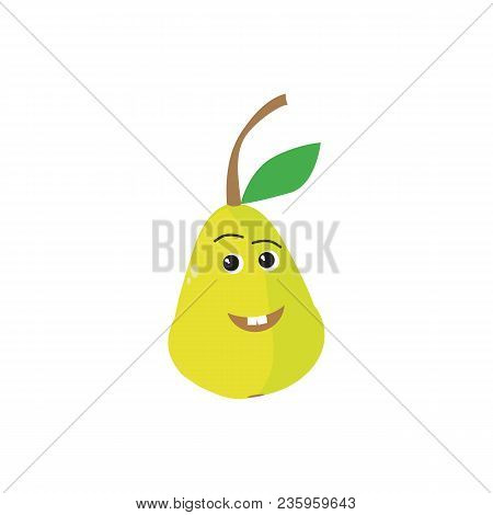Fresh Pear Icon Vector Illustration. Green Pear Icon. Pear Icon Clipart. Happy Pear.