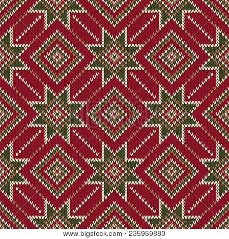 Christmas Holiday Seamless Knitted Pattern. Scheme For Knitting Sweater Pattern Design And Cross Sti