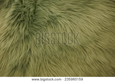 Green Fabric Background Of Long Wool On Clothes