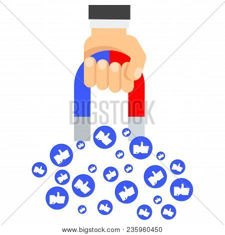 Attraction Of Likes. Flat Vector Cartoon Illustration. Objects Isolated On White Background.