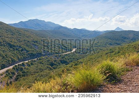 Summer Mountain Landscape With Road.  Dinaric Alps, Montenegro