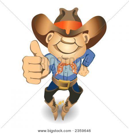 Thumbs Up Cowboy (vector or XXL jpeg image) poster