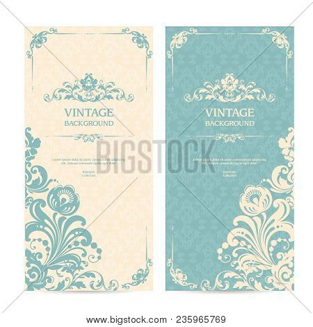 Vintage Template Set With Ornamental Frames And Patterned Background. Elegant Lace Wedding Invitatio