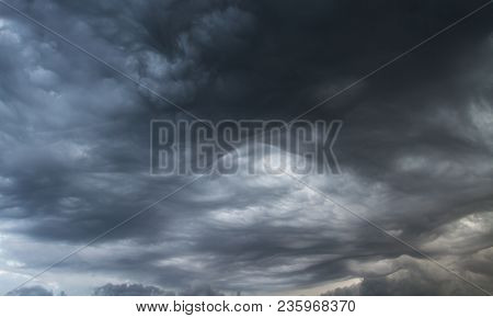 Thunderclouds. Before The Storm. Storm Clouds. Waves And Swirls Of Gray Clouds.