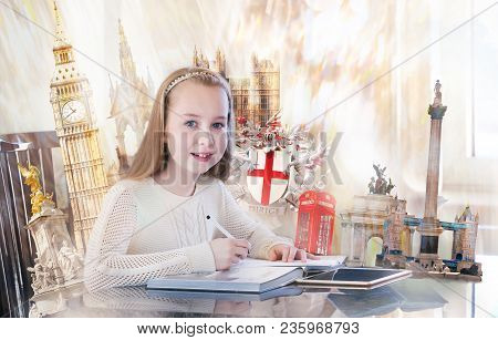 Pretty English Girl With Books, Studying. English Educational Concept Image With Famous Artefacts At