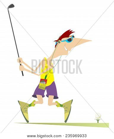 Smiling Golfer Aiming To Do A Good Kick Isolated Illustration. Cartoon Golfer In Sunglasses With Mus