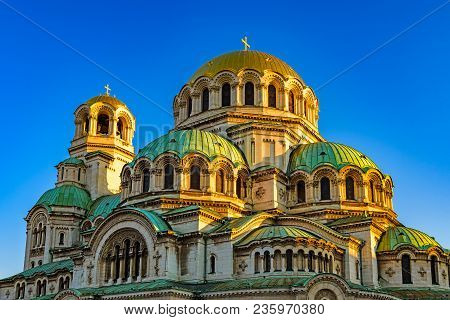 Side View And Sunlit Domes Of Alexander Nevsky Cathedral (completed 1912) Early In The Morning Again
