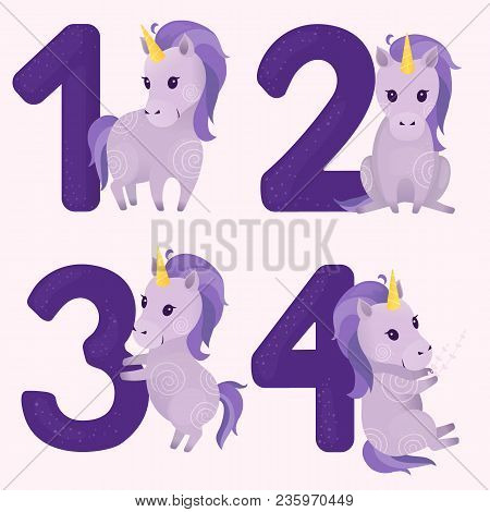 Set Of Vector Illustrations With Cute Violet Unicorn And Numbers: One, Two, Three, Four. Learn Numbe