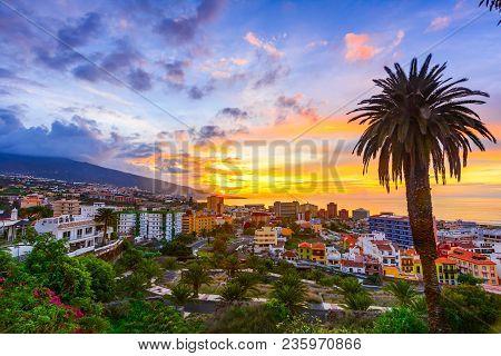 Puerto De La Cruz, Tenerife, Canary Islands, Spain: Sceninc View Over The City At The Sunset Time