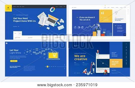 Set Of Creative Website Template Designs. Vector Illustration Concepts For Website And Mobile Websit