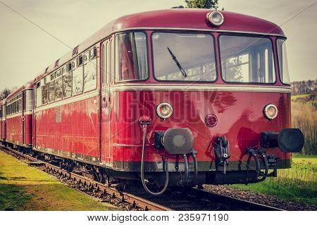 Beautiful Vintage Diesel Railbus On Railroad With Vintage Filter