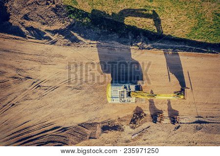 Drone Shot Of A Excavator At Sunset