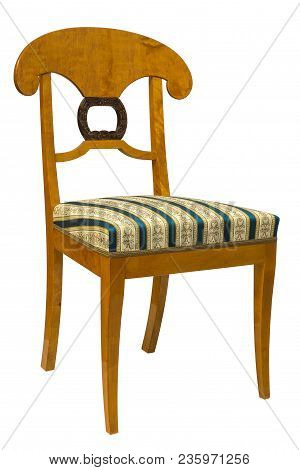 Antique Biedermeier Chair Isolated On White With Blue Stripe Fabric And Wood Carving