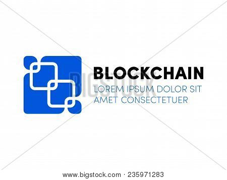 Blockchain Logo. Vector Chained Block In To Blue Square Icon. Blockchain Security Logo Concept For C