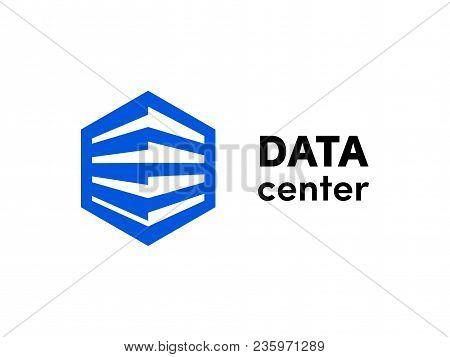 Data Or Hosting Server Logo. Vector Database Hexagonal Icon Template For Cloud Server Company. Big D