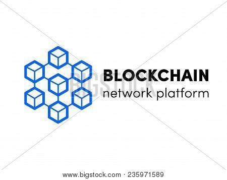 Blockchain, Cloud Server Or Hosting Logo. Vector Block Chain Network Isometric Template Design For C