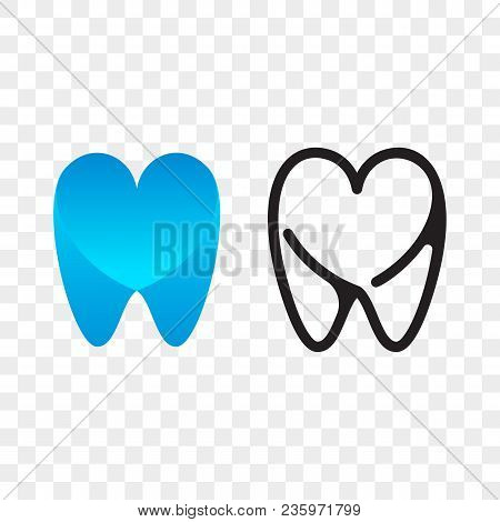 Tooth Logo Icon For Dentist Or Stomatology Dental Care Design Template. Vector Isolated Line White A