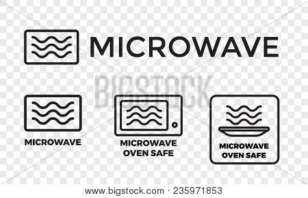 Microwave Oven Safe Icon Templates Set. Vector Isolated Line Symbols Or Labels For Plastic Dish Food