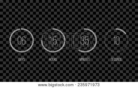 Vector Countdown Circle Clock Counter Timer. Vector Digital Count Down Circle Board With Circle Time