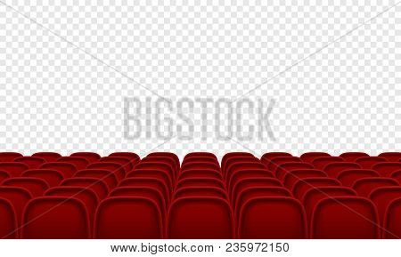 Theatre Or Movie Citema Seat Hall. Vector Red Seat Chair In Conference Auditorium Room. Row Cinema S